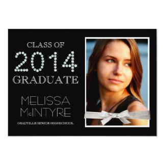 Diamantes y graduado 2014 de Bling del brillo con Invitaciones Personalizada