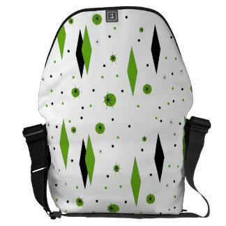 Diamantes y la bolsa de mensajero verdes retros de bolsas de mensajería