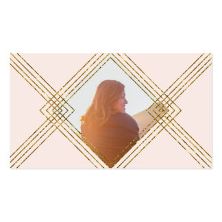 Diamantes y líneas marco de encargo del oro de la tarjetas de visita