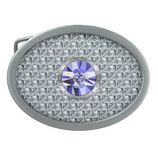 Diamantes y modelo de la mirada del acero hebillas cinturón ovales