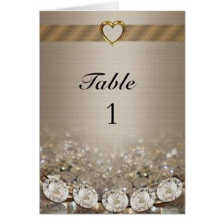 Diamantes y oro de la tarjeta del número de la