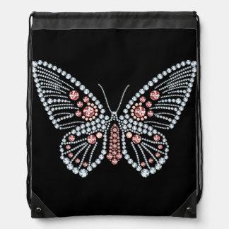 Diamantes y tote de rubíes del diseño de la maripo mochila