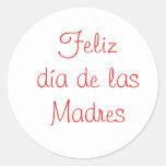 Diámetro de las Madres de Feliz Pegatina Redonda