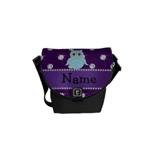 Diamon bling personalizado de la púrpura de los di bolsa messenger