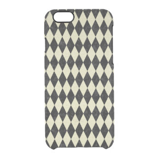 DIAMOND1 BLACK MARBLE & BEIGE LINEN CLEAR iPhone 6/6S CASE