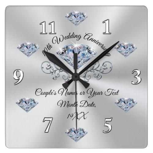 Diamond 10 year Wedding Anniversary Gift Ideas Square Wall Clock