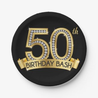 Diamond 50th Birthday Paper Plate