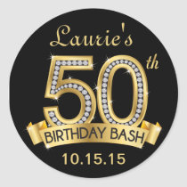 Diamond 50th Birthday Stickers | Black and Gold