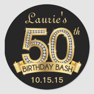 Diamond 50th Birthday Stickers | Black and Gold