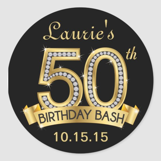 Diamond 50th Birthday Stickers Black And Gold Zazzle Com