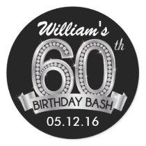 Diamond 60th Birthday Stickers | Black and Silver