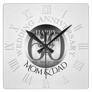 Diamond 60th Wedding Anniversary Clock Roman N