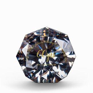 DIAMOND 60th Wedding Anniversary Crystal look Gold