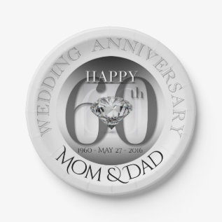 Diamond 60th Wedding Anniversary Paper Plates at Zazzle