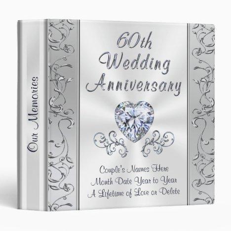 Diamond 60th Wedding Anniversary Photo Album 3 Ring Binder