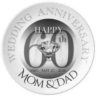 Diamond 60th Wedding Anniversary Porcelain Plate at Zazzle