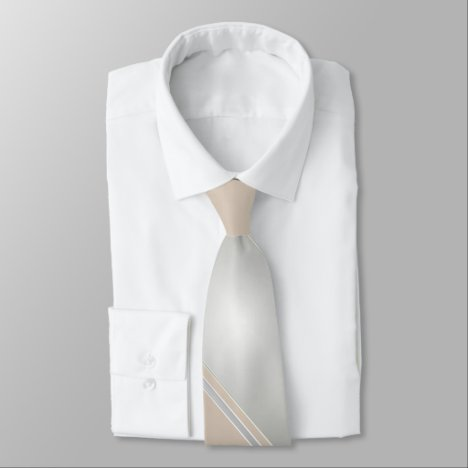 Diamond and Champagne-Colored Diagonally-Striped Tie