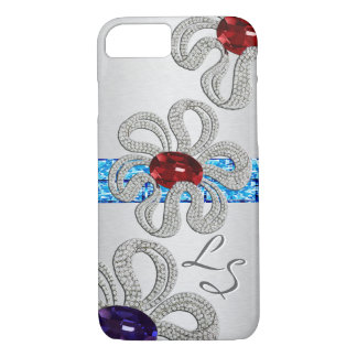 Diamond and Gem Encrusted Flowers - Monogrammed iPhone 7 Case