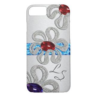Diamond and Gem Encrusted Flowers - Monogrammed iPhone 8/7 Case