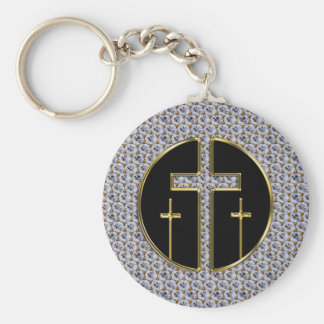 DIAMOND AND GOLD CROSSES BASIC ROUND BUTTON KEYCHAIN