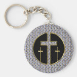 DIAMOND AND GOLD CROSSES KEYCHAIN