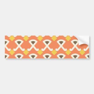 Diamond and Hooks Peach Gold Pattern Bumper Sticker