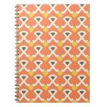 Diamond and Hooks Peach Gold Pattern Notebook