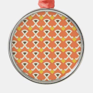 Diamond and Hooks Peach Gold Pattern Christmas Tree Ornament