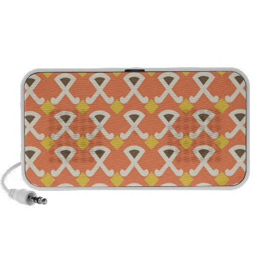 Diamond and Hooks Peach Gold Pattern Travelling Speakers