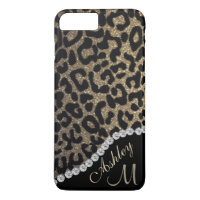 Diamond and Leopard Glitter Monogram iPhone 8 Plus/7 Plus Case