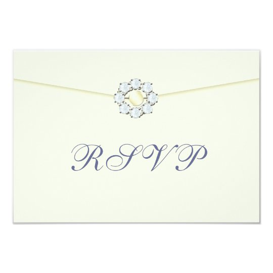 Diamond and Pearl Broach on Envelope RSVP Card