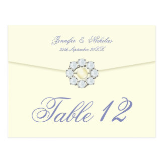 Diamond and Pearl Broach on Envelope Table Number Postcard