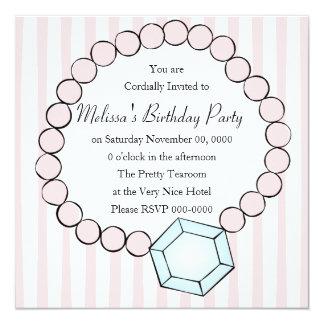 """Diamond and Pearls 5.25"""" Square Invitation Card"""