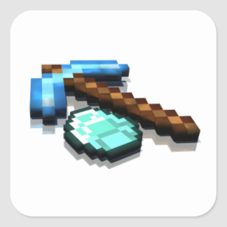 Diamond and pickaxe square stickers