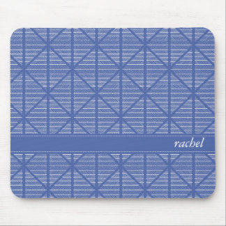 Diamond and Stripes Pattern Navy/Blue Custom Name Mouse Pad