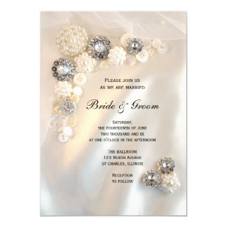 Diamond and White Pearl Buttons Wedding Invitation
