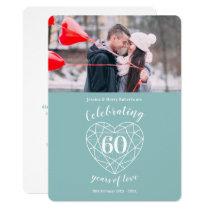 Diamond Anniversary 60 years photo invitations