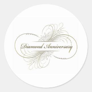 Diamond anniversary classic round sticker