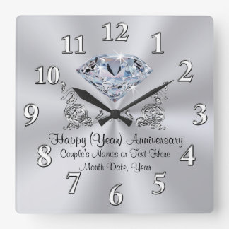 Diamond Anniversary Clocks with Your TEXT and YEAR