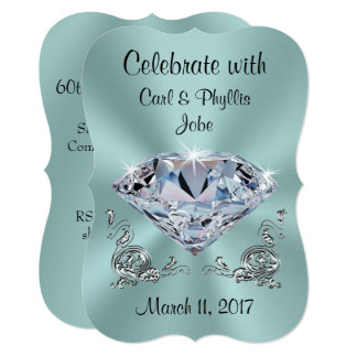 Diamond Anniversary Invitations, Your COLORS, TEXT Card
