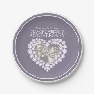 Diamond Anniversary photo heart paper plate