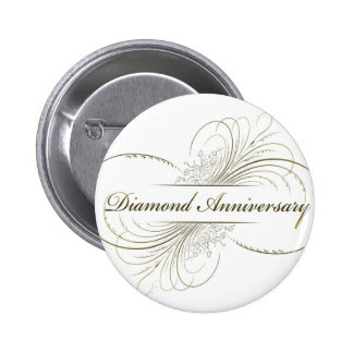 Diamond anniversary pinback button