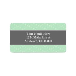 Diamond Background Address Labels (Mint / Gray)