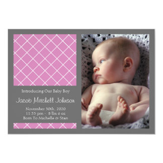 Diamond Background New Baby Announcements (Berry)