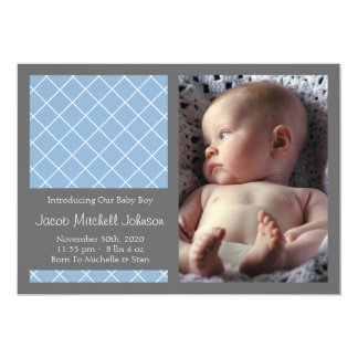 Diamond Background New Baby Announcements (Blue)