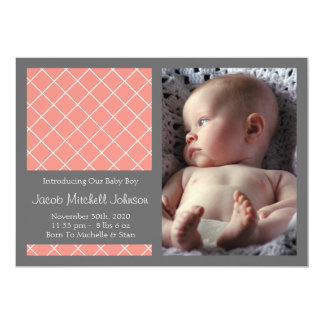 Diamond Background New Baby Announcements (Coral)