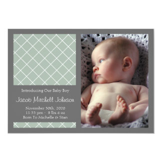 Diamond Background New Baby Announcements (Green)