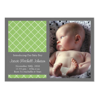 Diamond Background New Baby Announcements (Lime)