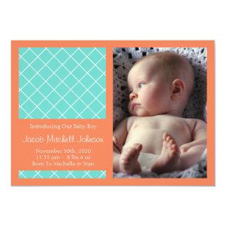 Diamond Background New Baby Announcements (Orange)
