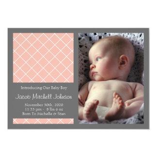 Diamond Background New Baby Announcements (Peach)